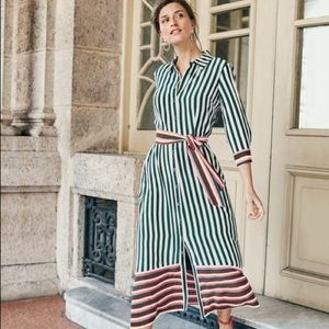 Boden Mallory midi shirtdress green stripe 4 $180